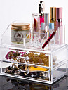 akryl transparent komplex kombination tre skikt kosmetika förvaringsbox med dubbel låda kosmetisk arrangör