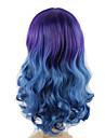 mettre en evidence violet bleu cheveux ombre stylisme de mode de couleur vague de corps longue longueur perruques