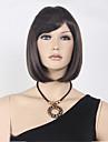 capless court bob synthetique de haute qualite brun fonce perruque cheveux raides Bang complet