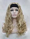 nouvelle mode 3/4 perruque avec la moitie perruque bandeau blond dore ondule longues synthetiques femmes