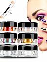 12pcs 2g / boite ongles paillettes poudre shinning miroir yeux maquillage ombre poussiere de poudre nail art chrome diy pigment paillettes
