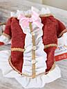 Chien Costume / Tenue Rouge / Gris Vetements pour Chien Hiver Britsh Garder au chaud