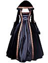 Une Piece/Robes Gothique Steampunk® Victorien Cosplay Vetrements Lolita Noir Couleur Pleine Manches longues Long Robe Pour FemmeSatin