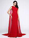 2017 TS Couture® Formal Evening Dress Trumpet / Mermaid Jewel Watteau Train Chiffon with Ruching