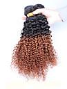 """3pcs / lot 10 """"-26"""" bresilien 1B30 de la couleur des cheveux vierge de cheveux crepus boucles tisse humaine"""
