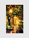 Peint a la main Paysage / Personnage / A fleurs/Botanique Peintures a l\'huile,Modern Un Panneau Toile Peinture a l\'huile Hang-peint For
