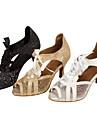 Chaussures de danse(Noir / Blanc / Or) -Personnalisables-Talon Personnalise-Similicuir / Paillette Brillante-Latine / Salsa