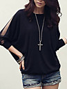 vrouwen Batwing ronde hals pure mesh cape mouw losse t-shirt