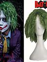 farceur vert moelleux boucles partie de cheveux de halloween costume perruque cosplay fibre haute temperature