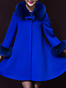 Damen Solide Retro Party/Cocktail Mantel / Capes,Winter Rundhalsausschnitt ¾-Arm Blau / Gelb Dick Wolle / Polyester
