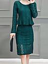 Dame Rotund Set Fustă Costume Ieșire Șic Stradă,Mată Manșon Lung Toamnă Iarnă-Albastru Negru Galben Mediu Poliester