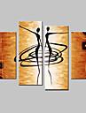 Peint a la main Abstrait Quatre Panneaux Toile Peinture a l\'huile Hang-peint For Decoration d\'interieur