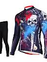 TASDAN Maillot et Cuissard Long de Cyclisme Homme Manches Longues Velo Pantalon/Surpantalon Maillot Collants Ensemble de Vetements