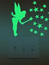 Romantik Väggklistermärken Lysande Väggstickers Klistermärken för strömbrytare Material Kan tas bort Hem-dekoration vägg~~POS=TRUNC