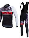 Miloto® Maillot et Cuissard Long a Bretelles de Cyclisme Homme Unisexe Manches longues VeloRespirable Garder au chaud Sechage rapide