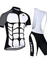 Sportif Maillot et Cuissard a Bretelles de Cyclisme Homme Manches courtes VeloRespirable / Sechage rapide / Resistant aux ultraviolets /