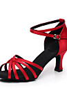 Chaussures de danse(Noir Bleu Autre) -Personnalisables-Talon Personnalise-Satin-Latine Salon