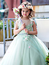Ball Gown Floor-length Flower Girl Dress - Tulle / Charmeuse Sleeveless Jewel with Beading / Flower(s) / Lace