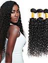 Hår Inslag med Stängning Brasilianskt hår Sexigt Lockigt 6 månader 4 delar hår väver