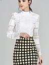Femei Rotund Bluză Plus Size Simplu(ă),Mată Manșon Lung Toamnă-Alb Opac Poliester
