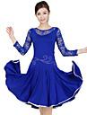 Latin Dance Dresses Women\'s Training Lace / Milk Fiber Crystals/Rhinestones / Draped / Lace 2 Pieces Long Sleeve Natural Dress / Shorts