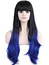 longue perruque de cheveux ondules avec une frange perruques couleur synthetique noir et bleu pour les femmes
