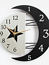 Moderne/Contemporain Niches Horloge murale,Autres Metal / Bois 32*31CM Interieur Horloge