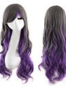 lolita peruk inspirerad av svart och lila blandad färg syntetiska peruker