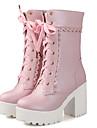 Damă Cizme Primăvară Toamnă Iarnă Pantofi la Modă Imitație de Piele Birou & Carieră Casual Toc Gros Blocați călcâiul Alb Negru Roz