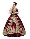 Une Piece/Robes Gothique Doux Lolita Classique/Traditionnelle Punk Steampunk® Victorien Cosplay Vetrements Lolita Rouge Fleur Manches 3/4