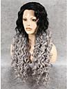 imstyle 26\'\'high kvalitet långa gråa lockiga syntetiska peruker spets front hög resistenta svart rot