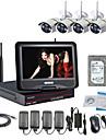 strongshine® trådlös IP-kamera med 960p / IR / vattentät och NVR med 10.1inch lcd / 3TB övervakning HDD kit