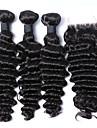 Trame cheveux avec fermeture Cheveux Malaisiens Boucle 12 mois 4 Pieces tissages de cheveux