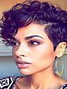 korta vågiga hår svart färg syntetiska peruker för kvinnor