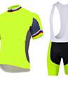 Sportif Maillot et Cuissard a Bretelles de Cyclisme Homme Manches courtes VeloRespirable Sechage rapide Design Anatomique Zip frontal La