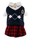 Chat / Chien Costume / T-shirt / Combinaison-pantalon Rouge / Bleu Vetements pour Chien Hiver / Printemps/Automne TartanMignon / Cosplay