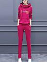 Dame Capișon Set Pantaloni Costume Ieșire / Plus Size Simplu(ă),Scrisă Manșon Lung Toamnă / Iarnă-Albastru / Verde / Violet Gros Poliester