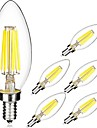 6W E14 LED-glödlampor C35 6 COB 560 LM Varmvit Kallvit AC 220-240 V 6 st