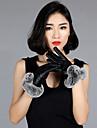 Women\'s PU Rabbit Fur Wrist Length Fingertips Add Wool Upset Cute/ Party/ Casual Winter Fashion Warm Gloves