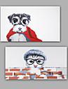 Peint a la main Abstrait / Animal Peintures a l\'huile,Modern / Classique Deux Panneaux Toile Peinture a l\'huile Hang-peint For Decoration