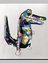 Peint a la main Animal / POP Peintures a l\'huile,Modern Un Panneau Toile Peinture a l\'huile Hang-peint For Decoration d\'interieur