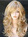 Longue boucle de corps ondulee mousseux plein cote bang perruques synthetiques pour femmes cheveux marron chauve-souris a cosmetiques peu couteux