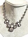 Femme Col Strass Forme de Fleur Perle Strass A Fleurs Mode Argent Bijoux Pour Mariage Soiree Quotidien 1pc