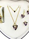 Pentru femei Seturi de bijuterii Iubire Aliaj Heart Shape 1 Colier 1 Pereche de Cercei 1 Brățară Inele 1 Pachet PentruNuntă Petrecere