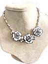 Femme Col Zircon cubique Forme de Fleur Rose Zircon A Fleurs Blanc Bijoux Pour Mariage Soiree Quotidien 1pc
