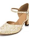 Chaussures de danse(Jaune / Blanc) -Personnalisables-Talon Personnalise-Dentelle / Paillette Brillante-Latine / Jazz / Moderne / Salsa /