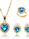 May Polly  It is all-match simple Heart Ring Necklace Earrings Set