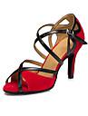 Customizable Women\'s suede sole Satin Dance Shoes Modern / Salsa / Latin /Swing Shoes  Heel Black Latin / Dance Sneakers / Tap