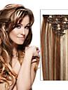 fri frakt brasiliansk klipp i mänskliga hårförlängningar raka clip-in hårförlängningar fullt huvud 7st / 8st som bilder färg