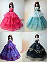 Fete / Soiree Robes Pour Poupee Barbie Rouge / Pourpre clair / Noir / Bleu Ciel Robes Pour Fille de Doll Toy
